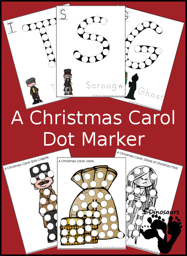 Free A Christmas Carol: Dot Marker Printables - 20 pages with Uppercase letters and characers - 3Dinosaurs.com