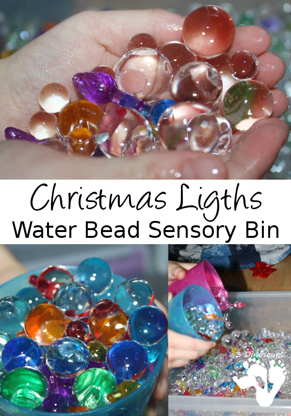 Christmas Lights Water Bead Sensory Bin - 3Dinosaurs.com