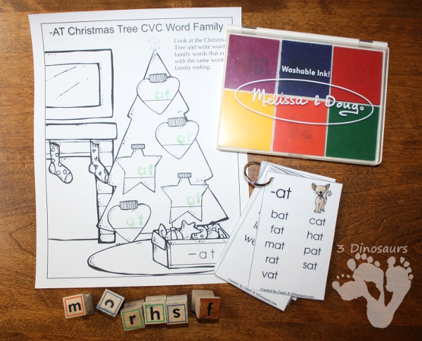 FREE CVC & CVCC Word Family Christmas Tree Writing Printable - ornaments on the tree and a writing page for each word family - 3Dinosaurs.com