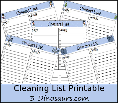 Monthly Goals January 2016 Plus FREE Monthly Cleaning Chart Printable - 3Dinosaurs.com