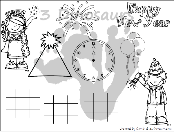 Free New Years Eve Placemats - 4 different placemats to pick from - 3Dinosaurs.com