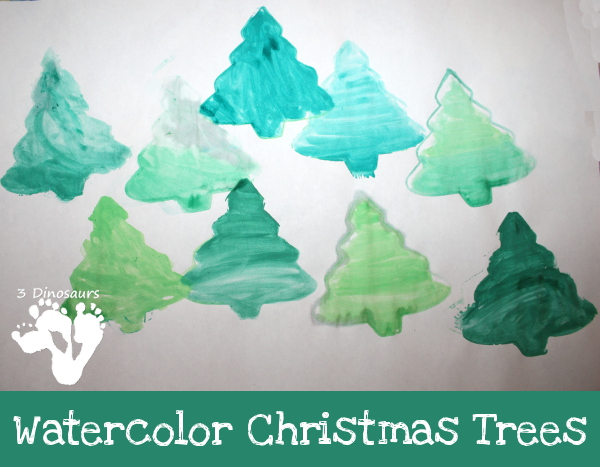 Watercolor Christmas Trees - 3Dinosaurs.com