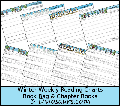 Free Weekly Winter 2015 Reading Charts - Book Bag & Chapter Books - 4 different pages to pick from - 3Dinosaurs.com