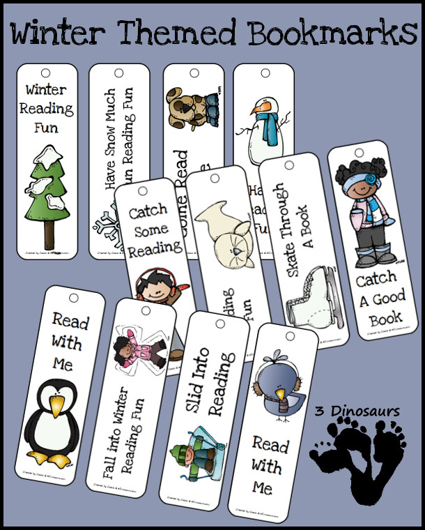 FREE Winter Themed Bookmarks - 12 bookmarks in all - 3Dinosaurs.com
