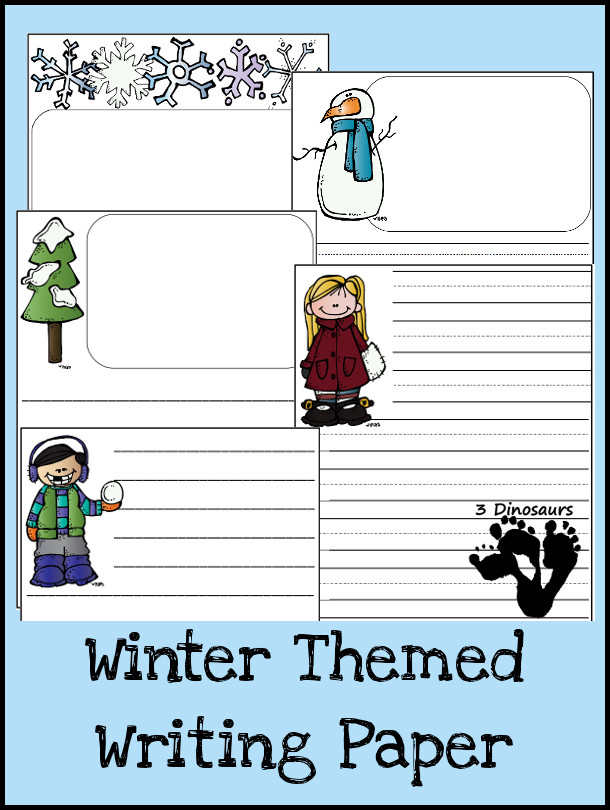 Free Winter Themed Writing Paper - 3Dinosaurs.com