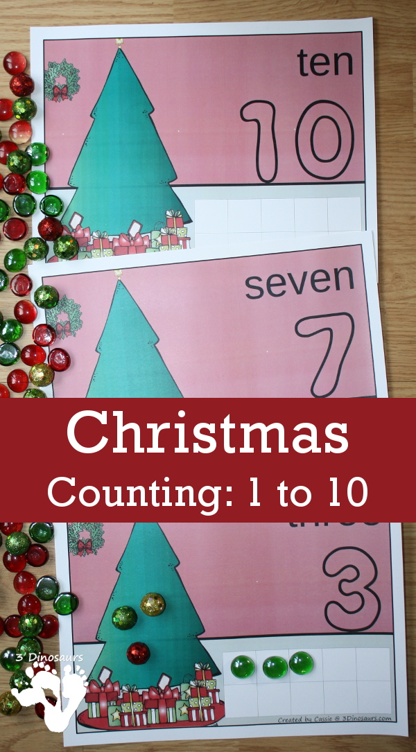 Free Hands-On Christmas Counting Mats for Numbers 1 to 10 - 3Dinosaurs.com