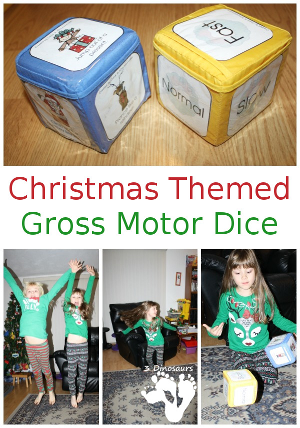 Free Christmas Gross Motor Dice - 2 sets of dice for kids to get moving and wiht Christmas Themes - 3Dinosaurs.com