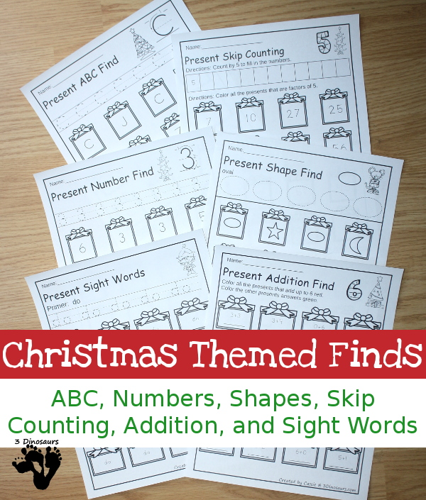 Christmas Themed Finds: ABCs, Numbers, Shapes, Sight Words and Math - 3Dinosaurs.com