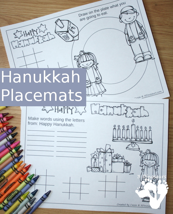 Free Hanukkah Themed Placemats! - 3Dinosaurs.com