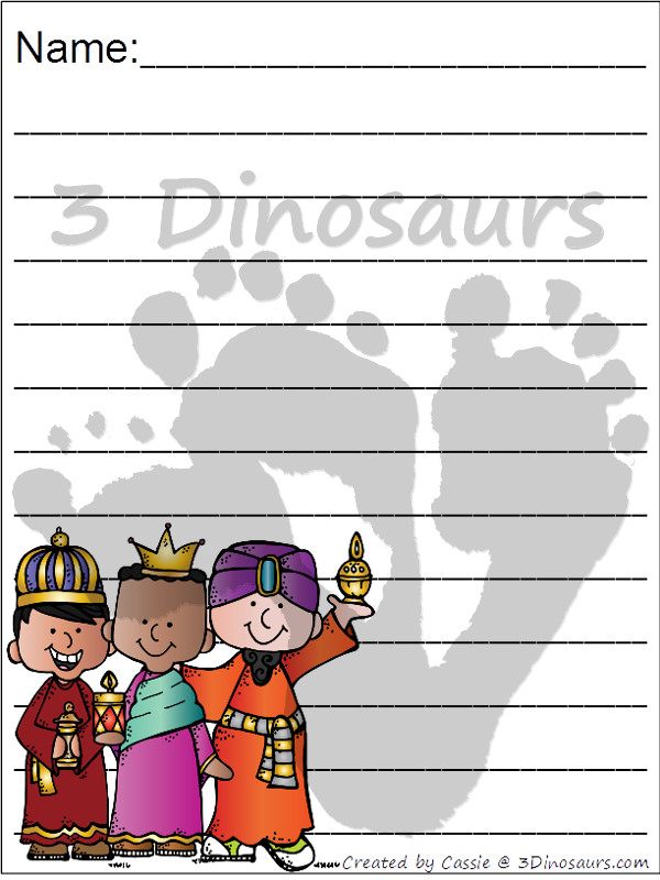 Free Nativity Themed Writing Paper For Kids - 6 different Nativity themes to pick from - 3Dinosaurs.com