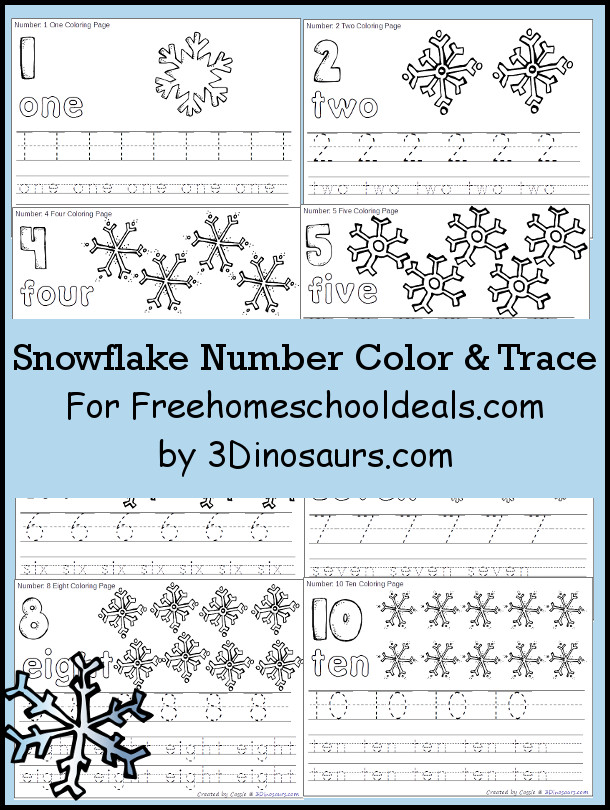 Snowflake Number Color & Trace | 3 Dinosaurs