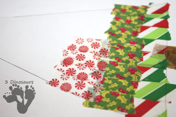 Easy Fine Motor Washi Tape Christmas Tree - a fun way to make a Christmas tree with washi tape - 3Dinosaurs.com