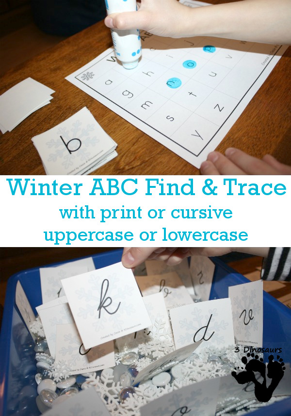 FREE Fun Winter Themed ABC Tracing for Print & Cursive - uppercase and lowercase options with cover the letter and tracing the letter - 3Dinosaurs.com