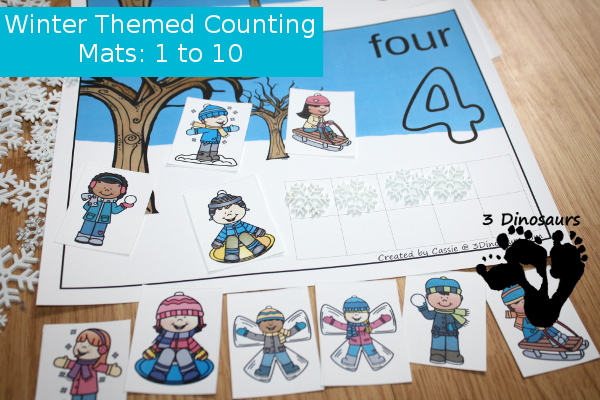 FREE Easy to Use Hands-On Winter Counting Mats: numbers 1 to 10 with ten frames and counting items - 3Dinosaurs.com