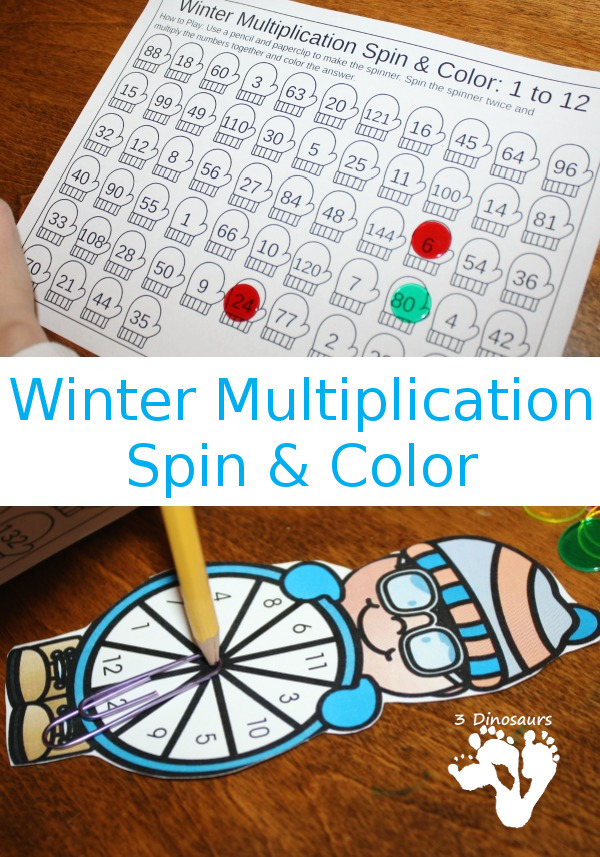 FREE Easy to Use Multiplication Spin & Color Printable - numbers 1 to 12 with a spinner and recording sheet - 3Dinosaurs.com