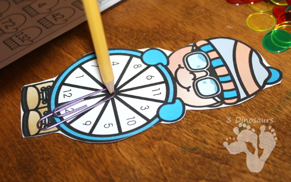 FREE Easy to Use Multiplication Spin & Color Printable - numbers 1 to 12 with a spinner - 3Dinosaurs.com