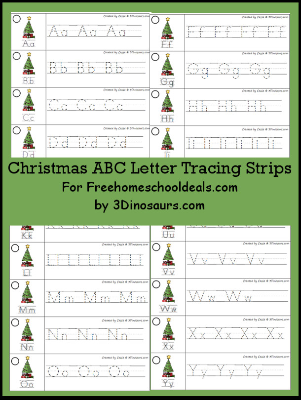 Free Christmas Tree Theme ABC Tracing Strips - with uppercase and lowercase together - 3Dinosaurs.com