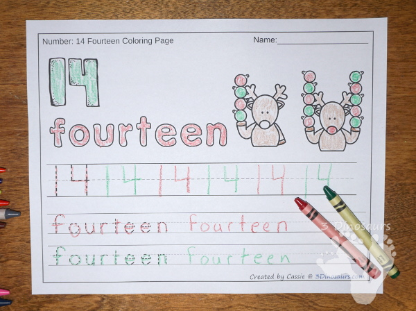 No-Prep Christmas Themed Number Color and Trace - easy no-prep printables with 3 fun themes: Christmas, gingerbread and reindeer theme. Each has 44 pages with two options for the numbers tracing or writing $ - 3Dinosaurs.com #noprepprintable #christmasprintables #numbersforkids