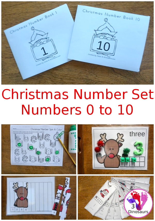 Christmas Themed Number Set 1 to 10 - with clip cards, puzzles, no-prep worksheets, easy reader books, playdough mats and more $ - 3Dinosaurs.com #printablesforkids #Christmas #christmasprintables #tpt #teacherspayteachers