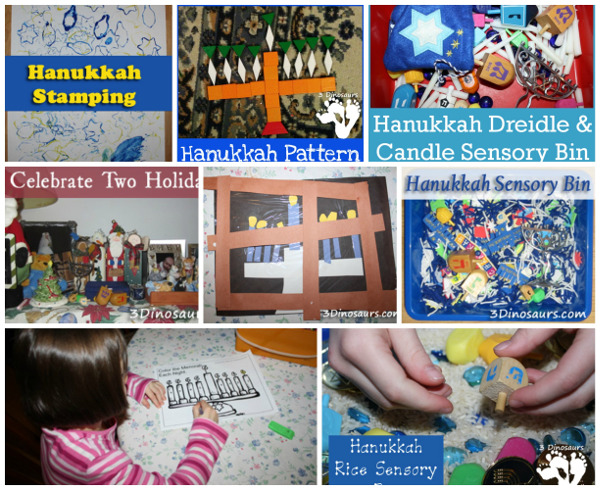 20+ Hanukkah Activities & Printables - sensory bins, crafts, printables and more on 3Dinosaurs.com
