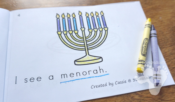 Free Hanukkah Themed Easy Reader Book - 8 page book with Hanukkah themed words - 3Dinosaurs.com #easyreaderbook #hanukkahforkids #freeprintables