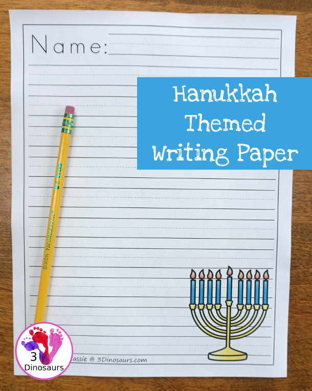 Free Fun Hanukkah Themed Writing Paper - 9 different images and 2 page types to pick from $ - 3Dinosaurs.com #freeprintable #hanukkahprintables #writingforkids