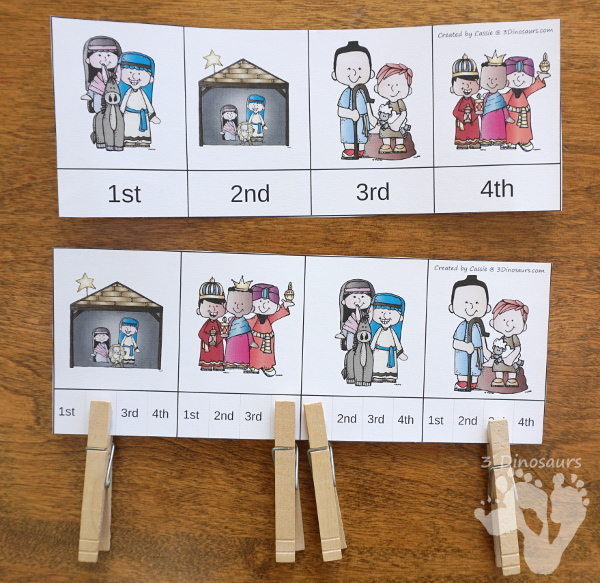Free Nativity Sequencing Printable - 4 different pictures to work on the sequencing of the nativity story - 3Dinosaurs.com #freeprintable #nativity #christmasprintables #sequencingforkids