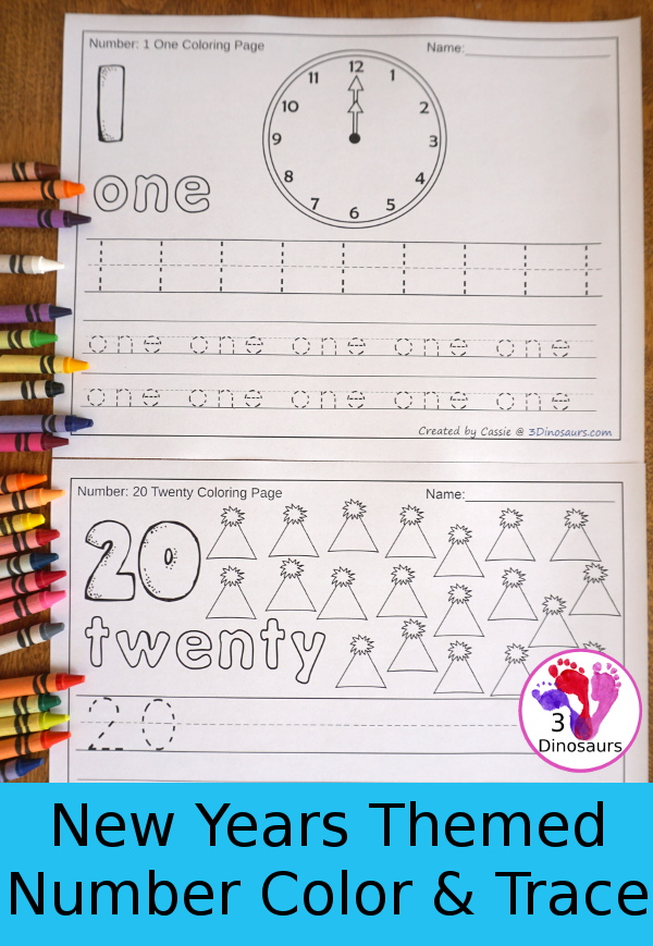 No-Prep New Year's Themed Number Color and Trace - easy no-prep printables to work on numbers. Each has 44 pages with two options for the numbers tracing or writing $ - 3Dinosaurs.com #noprepprintable #newyearsprintables #numbersforkids