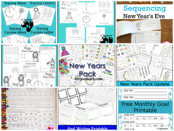 15+ New Years Printables - themed packs, abcs, numbers, easy reader books, and more - 3Dinosaurs.com #printablesforkids  #newyearsprintables