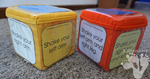 Free Wiggle and Shake  Gross Motor Dice - 12 movement, color, black & white, and speed dice for kids to have fun with - 3Dinosaurs.com #grossmotor #hokiepokie #freeprintable