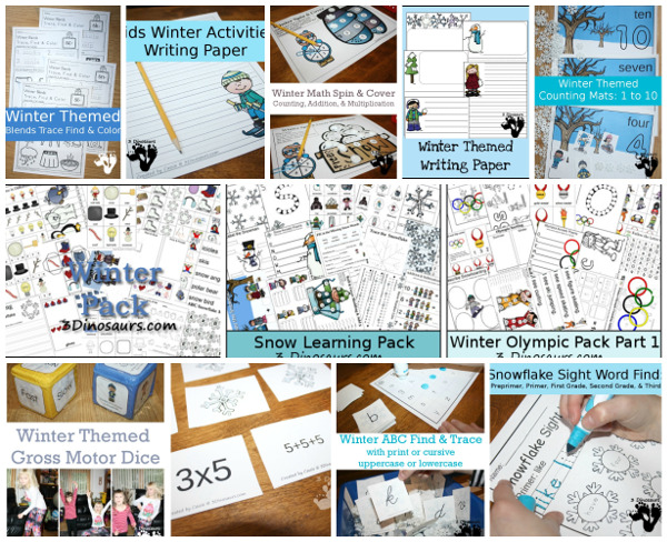 60+ Snow and Winter themed activites & printables - #winteractivitiesforkids #3dinosaurs #printablesforkids #craftsforkids - 3Dinosaurs.com