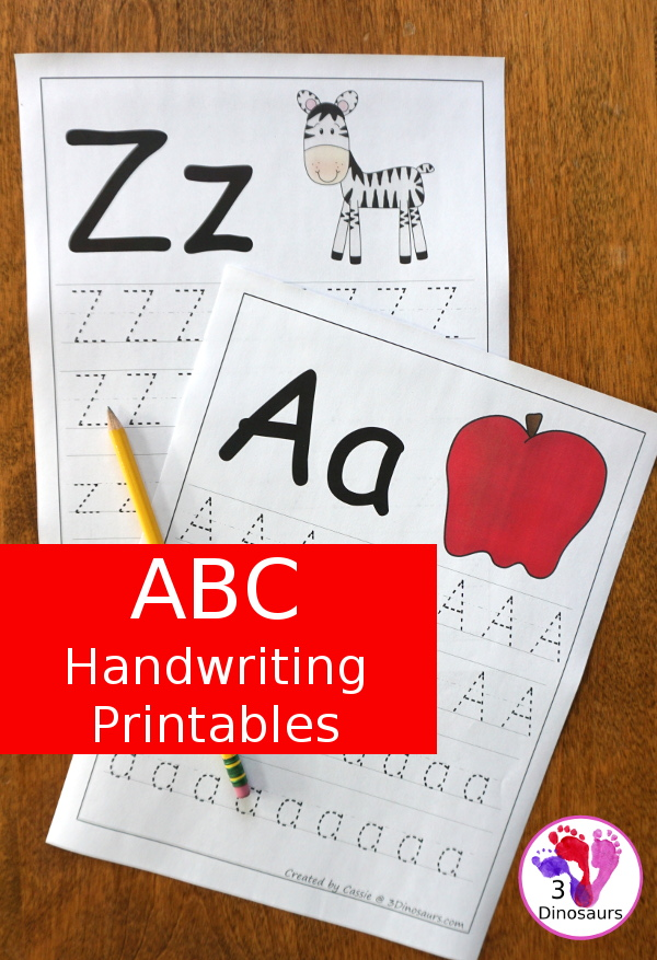 Free ABC Handwriting Printables - all 26 letters with uppercase and lowercase letters to trace - 3Dinosaurs.com