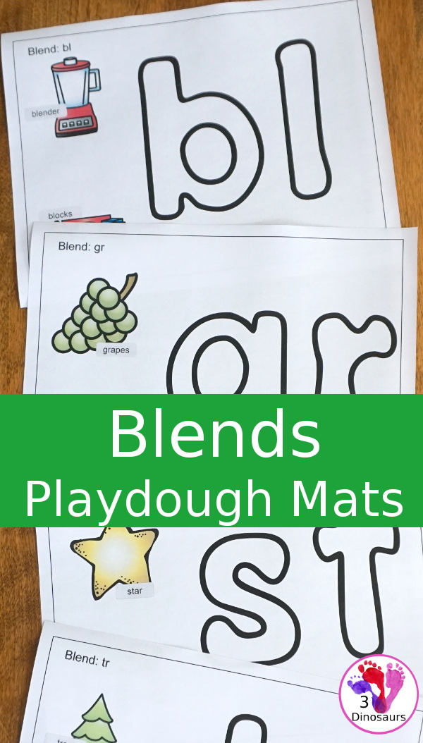 Free Blends Playdough Mats - 21 mats with beginning sounds with two match pictures for the blend - 3Dinosaurs.com