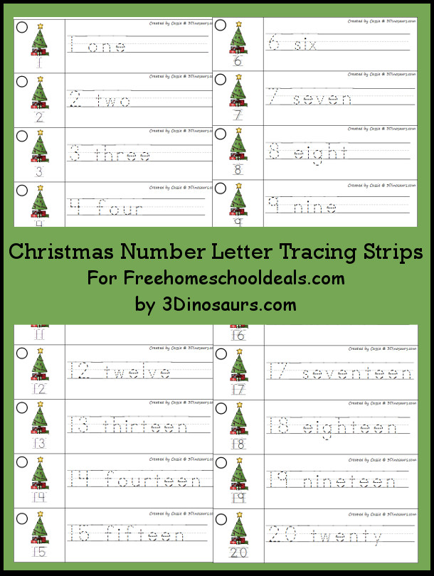 Free Christmas Tree Theme Number Tracing Strips - with numbers 1 to 20 - 3Dinosaurs.com
