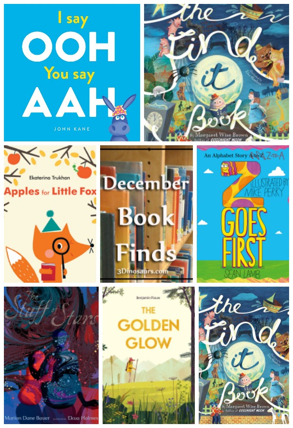 December 2018 Book Finds: alphabet, abcs, find it, nursery rhymes, funny book, nature, moose, detective - 3Dinosaurs.com