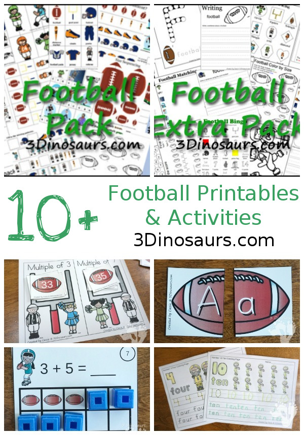 10+ Football Themed Printables & Activities - themed packs, learning to read, ABCs printables and more on 3Dinosaurs.com
