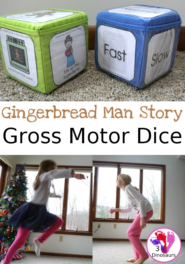 Free Run Run As Fast As You Can With The Gingerbread Man Gross Motor Dice - 6 movements and a speed dice included and goes great with almost all gingerbread man stories - 3Dinosaurs.com