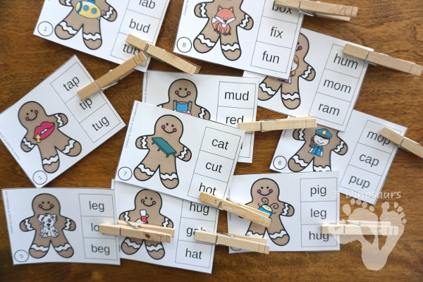 Free Fun Hands-On Gingerbread Rhyming CVC Clip Cards - 31 CVC word family words clip cards and recording sheet - 3Dinosaurs.com