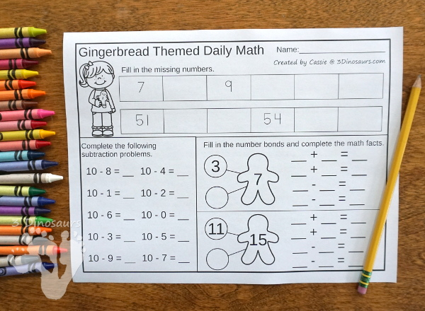 No-Prep Gingerbread Math Printables For Addition & Subtraction or Multiplication & Division - 30 pages in each set with review sheets at the end - 3Dinosaurs.com