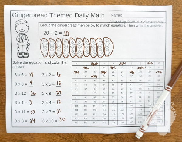 No-Prep Gingerbread Math Printables For Addition - 30 pages in each set with review sheets at the end - 3Dinosaurs.com