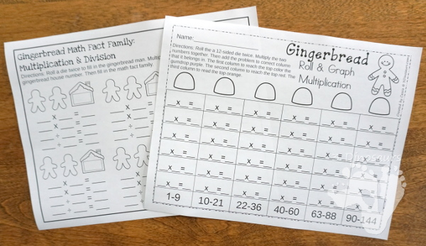 No-Prep Gingerbread Math Printables For Addition & Subtraction - 30 pages in each set with review sheets at the end - 3Dinosaurs.com