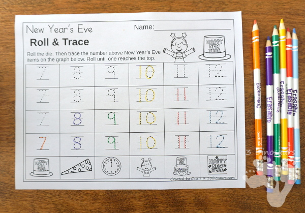 Free New Year's Roll & Graph - works on graphing or numbers 1 to 30 with a fun New Year's Eve theme - 3Dinosaurs.com
