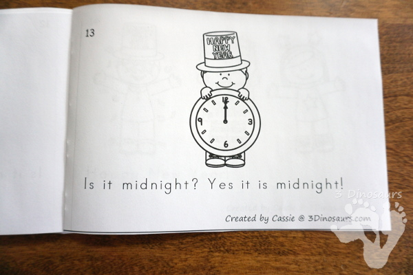Free New Year's Eve Is It Midnight Easy Reader Book - a fun 14 page book with clocks asking if it is midnight - 3Dinosaurs.com