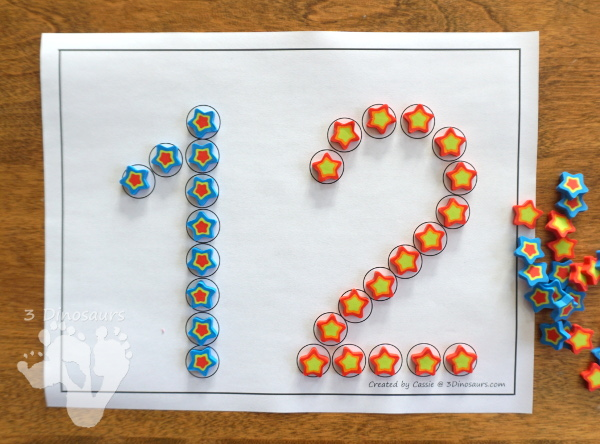 Free Number Dot Marker Printable: 1 to 20 - easy to use printable for kids that like to use dot markers or hands-on items - 3Dinosaurs.com