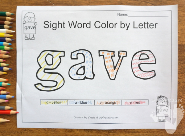 Free Romping & Roaring Second Grade Sight Words: gave, goes, green, its 6 pages of printables for each word - 3Dinosaurs.com