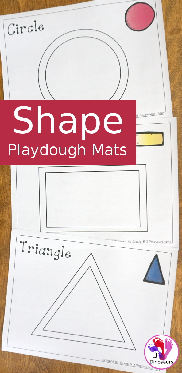 Free Shape Playdough Mats - 11 shape mats to use with kids- 3Dinosaurs.com