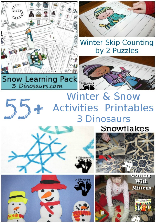 55+ Snow and Winter themed activites & printables - #winteractivitiesforkids #3dinosaurs #printablesforkids #craftsforkids - 3Dinosaurs.com