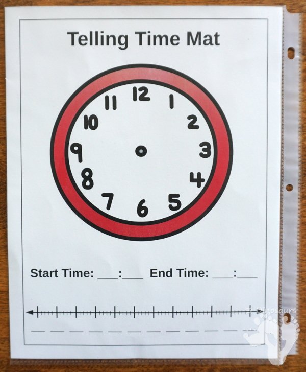 Free Easy To Use Math Help: Telling Time Mats - 2 mats to help with clocks and time number lines for helping with math questions about amount of time - 3Dinosaurs.com