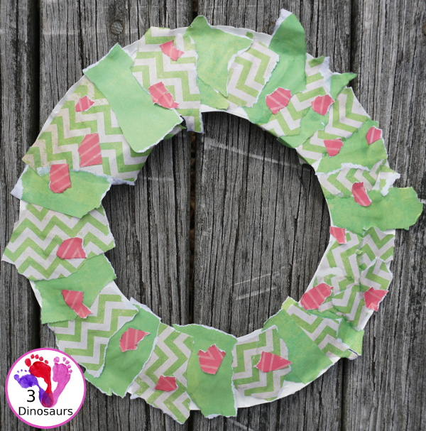 Torn Scrapbook Paper Holly Wreath - a simple and easy fine motor craft for kids to make at Christmas time - 3Dinosaurs.com