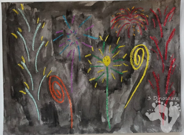 Watercolor & Oil Pastel Fireworks - easy to do fireworks watercolor painting with great for open ended design - 3Dinosaurs.com